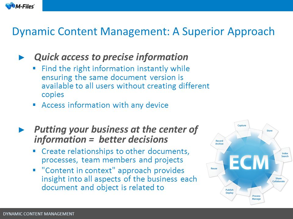DYNAMIC CONTENT MANAGEMENT Dynamic Content Management: A Superior Approach Quick access to precise information Find the right information instantly wh