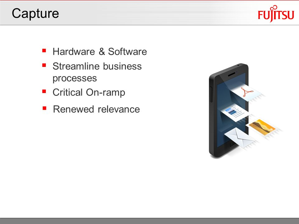 Hardware & Software Streamline business processes Critical On-ramp Capture 10 Renewed relevance
