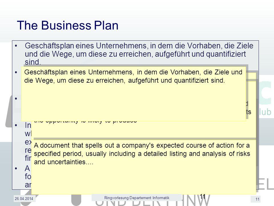 11 26.04.2014 The Business Plan Geschäftsplan eines Unternehmens, in dem die Vorhaben, die Ziele und die Wege, um diese zu erreichen, aufgeführt und quantifiziert sind.
