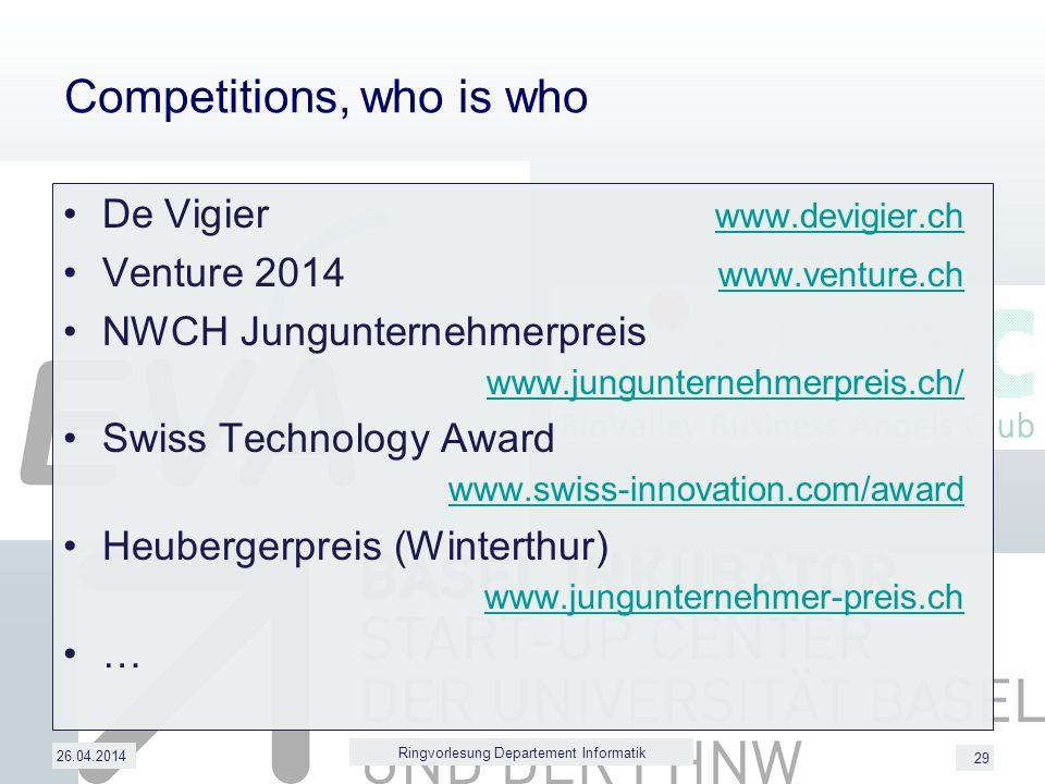 29 Competitions, who is who De Vigier www.devigier.ch www.devigier.ch Venture 2014 www.venture.ch www.venture.ch NWCH Jungunternehmerpreis www.jungunternehmerpreis.ch/ www.jungunternehmerpreis.ch/ Swiss Technology Award www.swiss-innovation.com/award www.swiss-innovation.com/award Heubergerpreis (Winterthur) www.jungunternehmer-preis.ch www.jungunternehmer-preis.ch … 26.04.2014 Ringvorlesung Departement Informatik