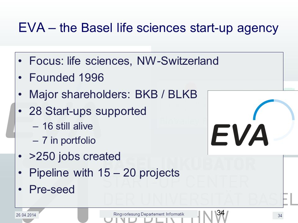 34 EVA – the Basel life sciences start-up agency Focus: life sciences, NW-Switzerland Founded 1996 Major shareholders: BKB / BLKB 28 Start-ups supported –16 still alive –7 in portfolio >250 jobs created Pipeline with 15 – 20 projects Pre-seed 26.04.2014 Ringvorlesung Departement Informatik 34