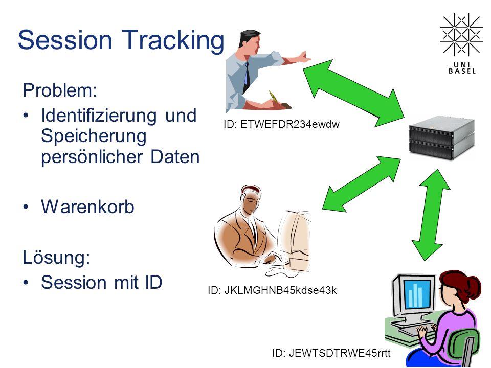 Session Tracking Problem: Identifizierung und Speicherung persönlicher Daten Warenkorb Lösung: Session mit ID Anmeldung ID REQ + ID RES ID: JKLMGHNB45kdse43k ID: JEWTSDTRWE45rrtt ID: ETWEFDR234ewdw