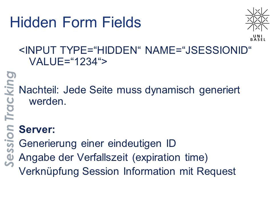 Hidden Form Fields Session Tracking Nachteil: Jede Seite muss dynamisch generiert werden.