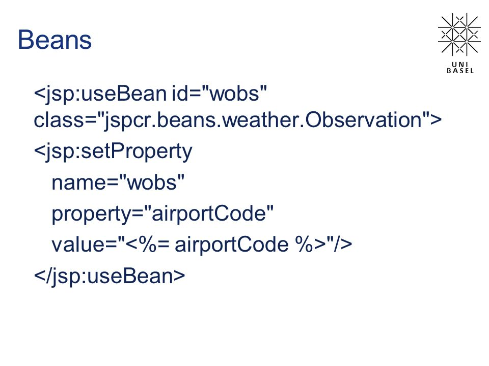 Beans <jsp:setProperty name= wobs property= airportCode value= />