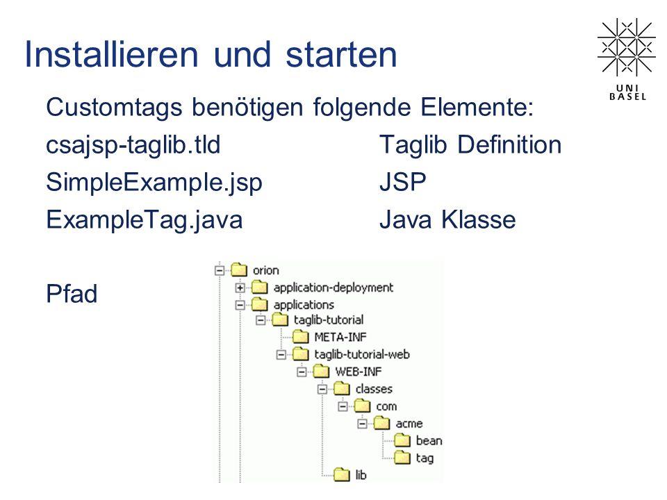 Installieren und starten Customtags benötigen folgende Elemente: csajsp-taglib.tldTaglib Definition SimpleExample.jspJSP ExampleTag.javaJava Klasse Pfad