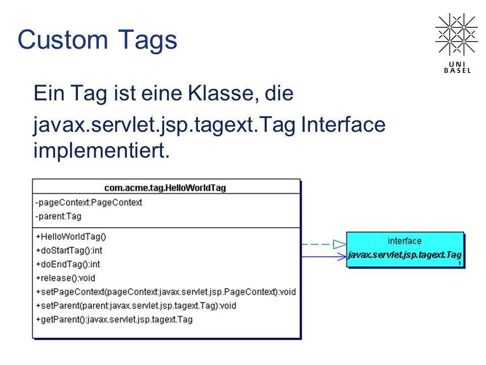 Custom Tags Ein Tag ist eine Klasse, die javax.servlet.jsp.tagext.Tag Interface implementiert.