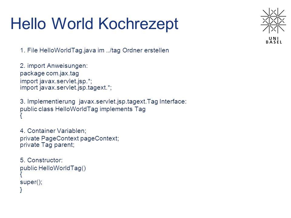 Hello World Kochrezept 1. File HelloWorldTag.java im../tag Ordner erstellen 2.