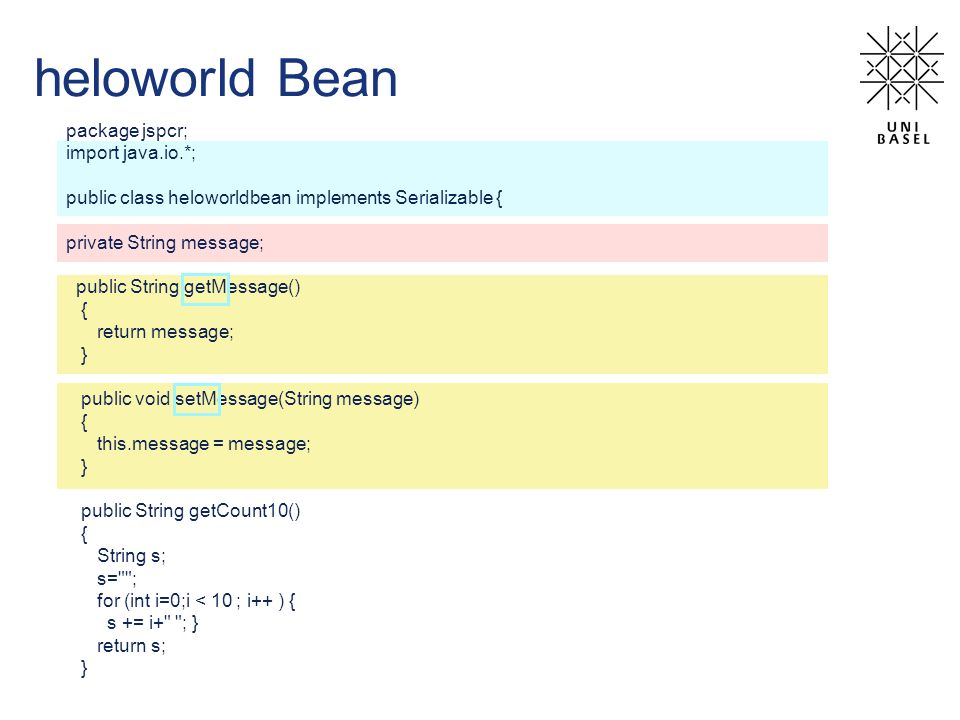 heloworld Bean package jspcr; import java.io.*; public class heloworldbean implements Serializable { private String message; public String getMessage(