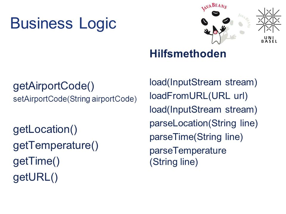 Business Logic getAirportCode() setAirportCode(String airportCode) getLocation() getTemperature() getTime() getURL() Hilfsmethoden load(InputStream st