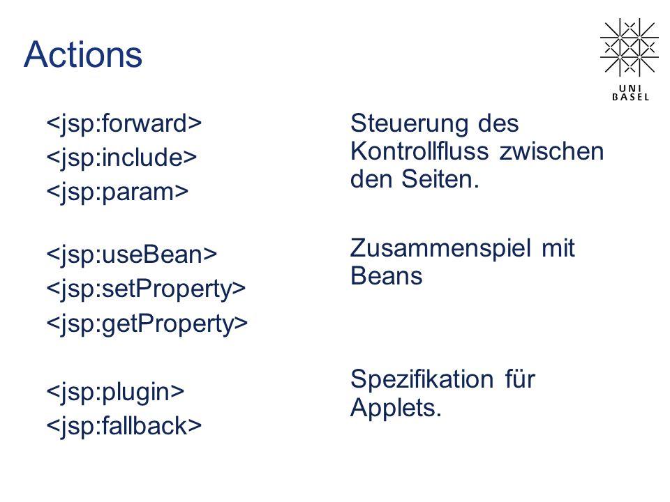 Actions Steuerung des Kontrollfluss zwischen den Seiten. Zusammenspiel mit Beans Spezifikation für Applets.