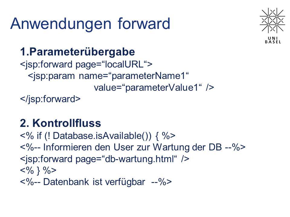 Anwendungen forward 1.Parameterübergabe <jsp:param name=parameterName1 value=parameterValue1 /> 2. Kontrollfluss