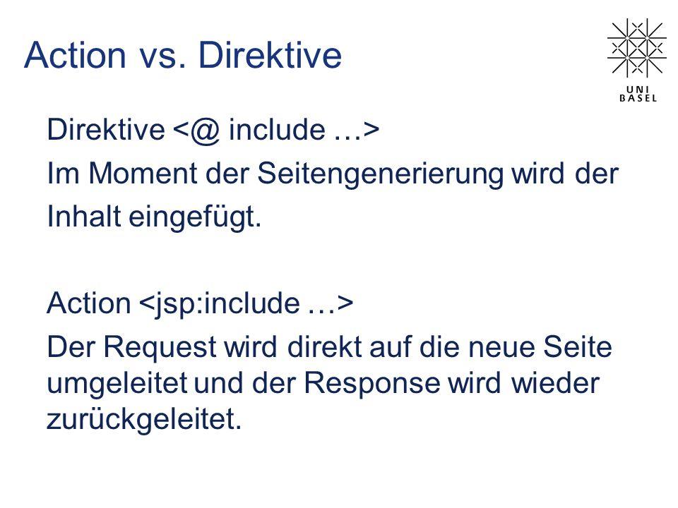 Action vs. Direktive Direktive Im Moment der Seitengenerierung wird der Inhalt eingefügt. Action Der Request wird direkt auf die neue Seite umgeleitet