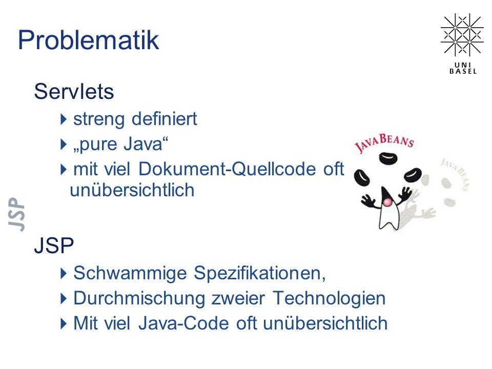 Problematik Servlets streng definiert pure Java mit viel Dokument-Quellcode oft unübersichtlich JSP Schwammige Spezifikationen, Durchmischung zweier T