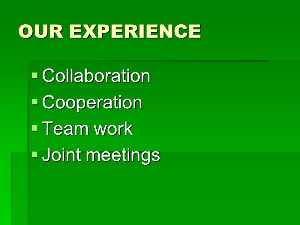 OUR EXPERIENCE Collaboration Collaboration Cooperation Cooperation Team work Team work Joint meetings Joint meetings