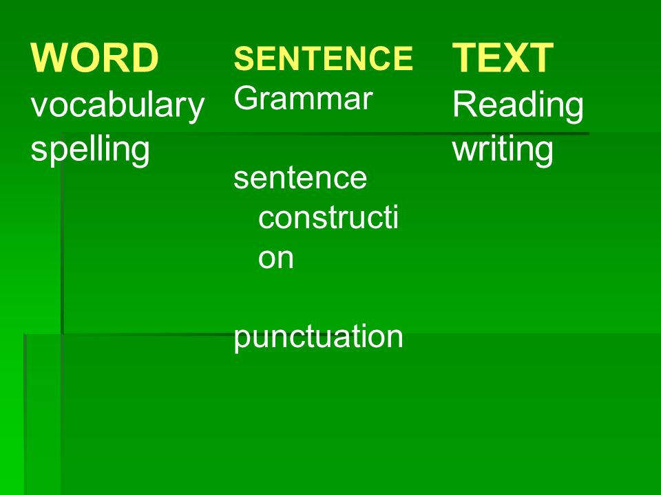 WORD vocabulary spelling SENTENCE Grammar sentence constructi on punctuation TEXT Reading writing