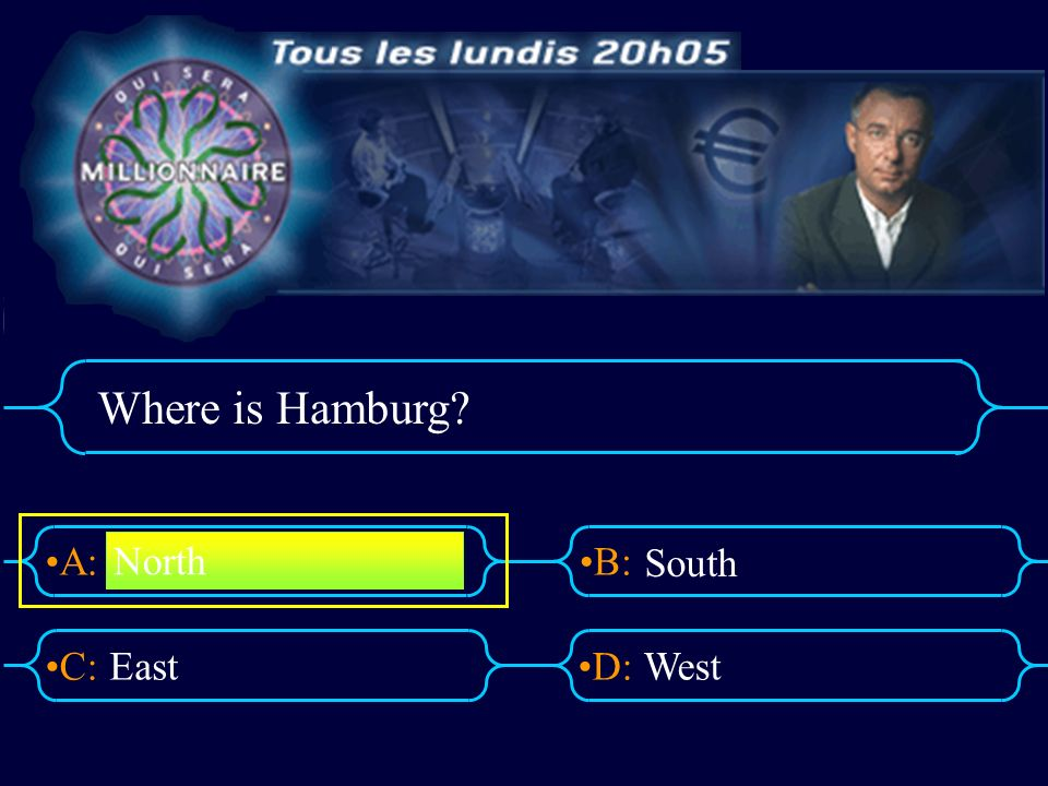 A:B: D:C: Where is Hamburg? EastWest North South