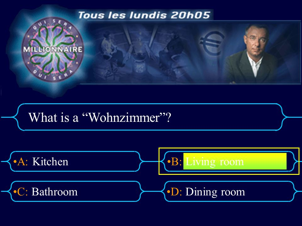 A:B: D:C: What is a Wohnzimmer? Kitchen BathroomDining room Living room