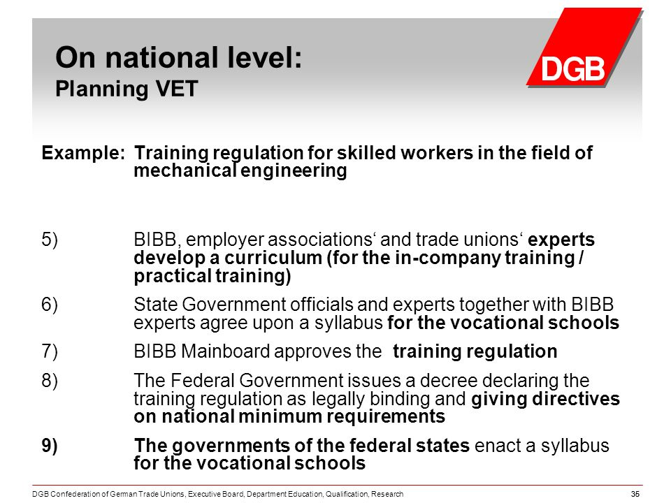 DGB Confederation of German Trade Unions, Executive Board, Department Education, Qualification, Research35 Example: Training regulation for skilled workers in the field of mechanical engineering 5) BIBB, employer associations and trade unions experts develop a curriculum (for the in-company training / practical training) 6) State Government officials and experts together with BIBB experts agree upon a syllabus for the vocational schools 7) BIBB Mainboard approves the training regulation 8) The Federal Government issues a decree declaring the training regulation as legally binding and giving directives on national minimum requirements 9) The governments of the federal states enact a syllabus for the vocational schools On national level: Planning VET