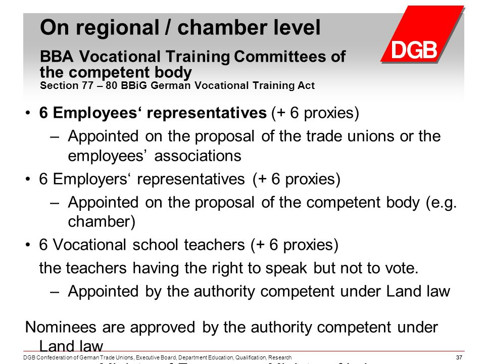 DGB Confederation of German Trade Unions, Executive Board, Department Education, Qualification, Research37 On regional / chamber level BBA Vocational Training Committees of the competent body Section 77 – 80 BBiG German Vocational Training Act 6 Employees representatives (+ 6 proxies) – Appointed on the proposal of the trade unions or the employees associations 6 Employers representatives (+ 6 proxies) – Appointed on the proposal of the competent body (e.g.