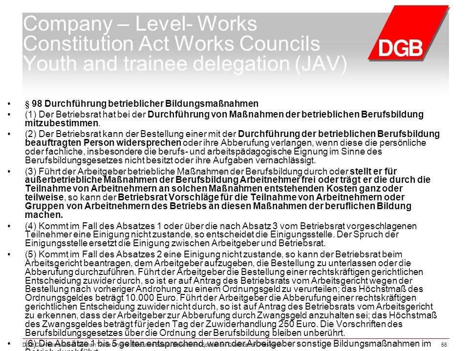 DGB Confederation of German Trade Unions, Executive Board, Department Education, Qualification, Research56 § 98 Durchführung betrieblicher Bildungsmaßnahmen (1) Der Betriebsrat hat bei der Durchführung von Maßnahmen der betrieblichen Berufsbildung mitzubestimmen.