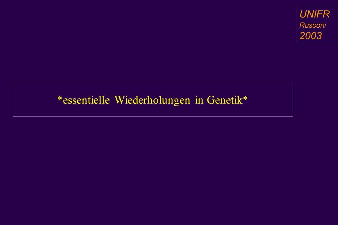 *essentielle Wiederholungen in Genetik* a aa a aa UNIFR Rusconi 2003