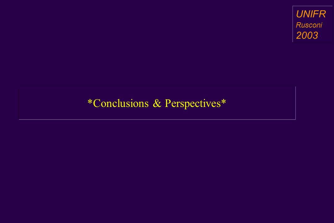 *Conclusions & Perspectives* a aa a aa UNIFR Rusconi 2003