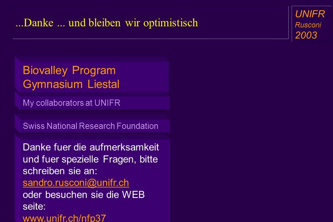 Danke fuer die aufmerksamkeit und fuer spezielle Fragen, bitte schreiben sie an: sandro.rusconi@unifr.ch oder besuchen sie die WEB seite: www.unifr.ch/nfp37...Danke...