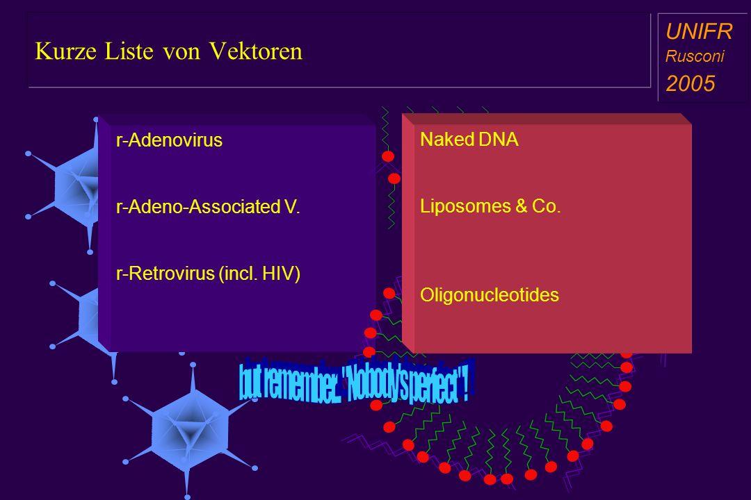 Kurze Liste von Vektoren a aa a aa r-Adenovirus r-Adeno-Associated V. r-Retrovirus (incl. HIV) Naked DNA Liposomes & Co. Oligonucleotides UNIFR Ruscon