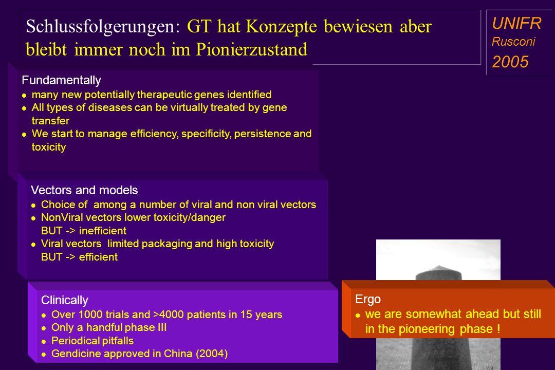 Schlussfolgerungen: GT hat Konzepte bewiesen aber bleibt immer noch im Pionierzustand a aa a aa Fundamentally many new potentially therapeutic genes i