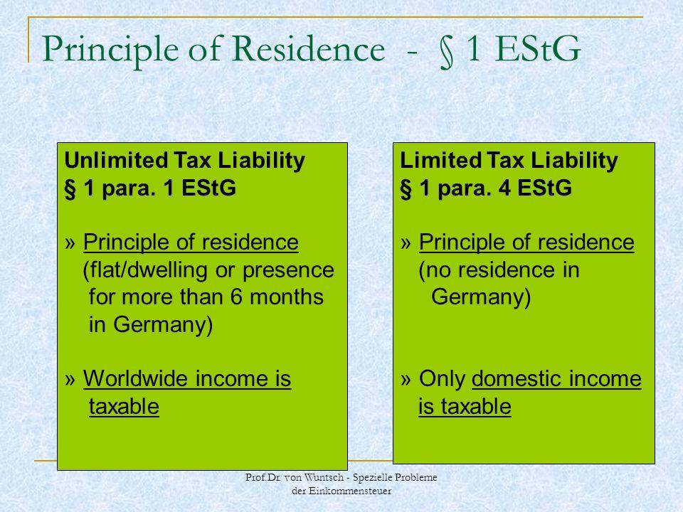 Prof.Dr. von Wuntsch - Spezielle Probleme der Einkommensteuer Principle of Residence - § 1 EStG Unlimited Tax Liability § 1 para. 1 EStG » Principle o