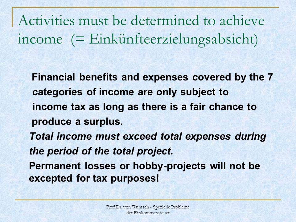 Prof.Dr. von Wuntsch - Spezielle Probleme der Einkommensteuer Activities must be determined to achieve income (= Einkünfteerzielungsabsicht) Financial