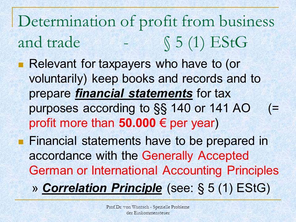 Prof.Dr. von Wuntsch - Spezielle Probleme der Einkommensteuer Determination of profit from business and trade - § 5 (1) EStG Relevant for taxpayers wh
