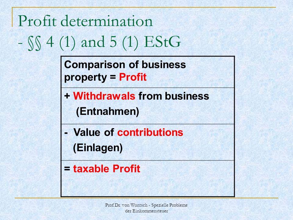 Prof.Dr. von Wuntsch - Spezielle Probleme der Einkommensteuer Profit determination - §§ 4 (1) and 5 (1) EStG Comparison of business property = Profit