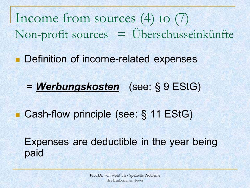 Prof.Dr. von Wuntsch - Spezielle Probleme der Einkommensteuer Income from sources (4) to (7) Non-profit sources = Überschusseinkünfte Definition of in