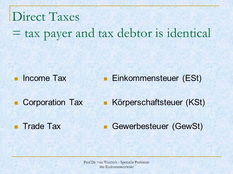 Prof.Dr. von Wuntsch - Spezielle Probleme der Einkommensteuer Direct Taxes = tax payer and tax debtor is identical Income Tax Corporation Tax Trade Ta