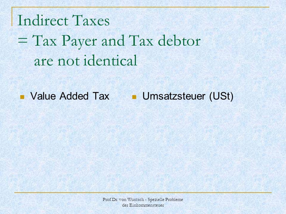 Prof.Dr. von Wuntsch - Spezielle Probleme der Einkommensteuer Indirect Taxes = Tax Payer and Tax debtor are not identical Value Added Tax Umsatzsteuer