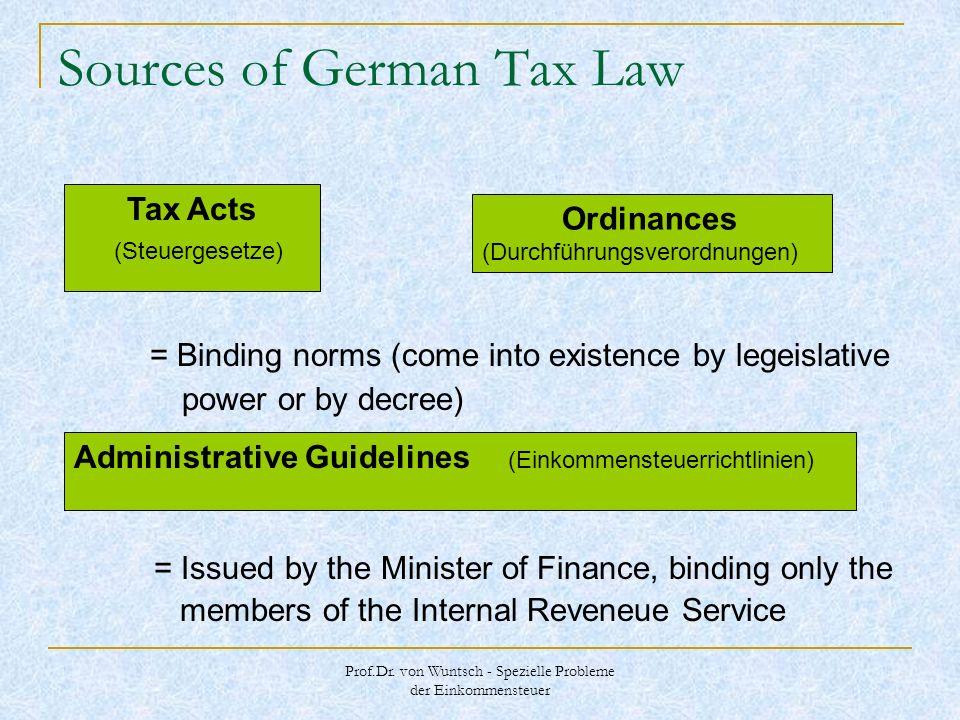 Prof.Dr. von Wuntsch - Spezielle Probleme der Einkommensteuer Sources of German Tax Law = Binding norms (come into existence by legeislative power or