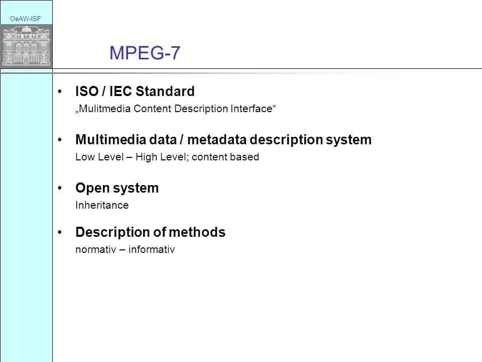 MPEG-7 OeAW-ISF ISO / IEC Standard Mulitmedia Content Description Interface Multimedia data / metadata description system Low Level – High Level; content based Open system Inheritance Description of methods normativ – informativ