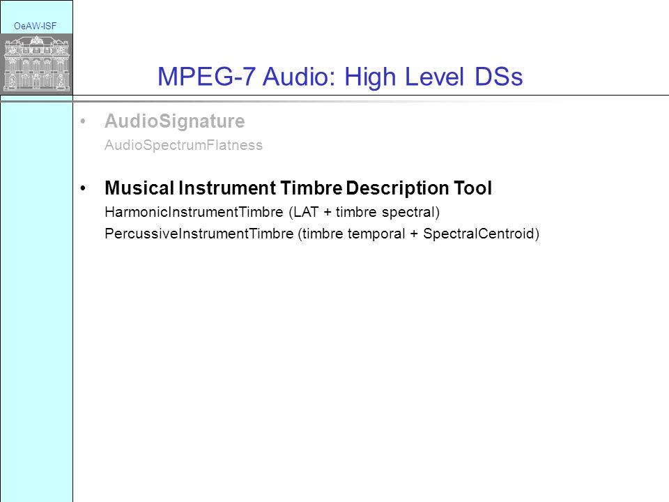 OeAW-ISF MPEG-7 Audio: High Level DSs AudioSignature AudioSpectrumFlatness Musical Instrument Timbre Description Tool HarmonicInstrumentTimbre (LAT + timbre spectral) PercussiveInstrumentTimbre (timbre temporal + SpectralCentroid)