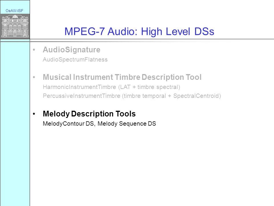 OeAW-ISF MPEG-7 Audio: High Level DSs AudioSignature AudioSpectrumFlatness Musical Instrument Timbre Description Tool HarmonicInstrumentTimbre (LAT + timbre spectral) PercussiveInstrumentTimbre (timbre temporal + SpectralCentroid) Melody Description Tools MelodyContour DS, Melody Sequence DS