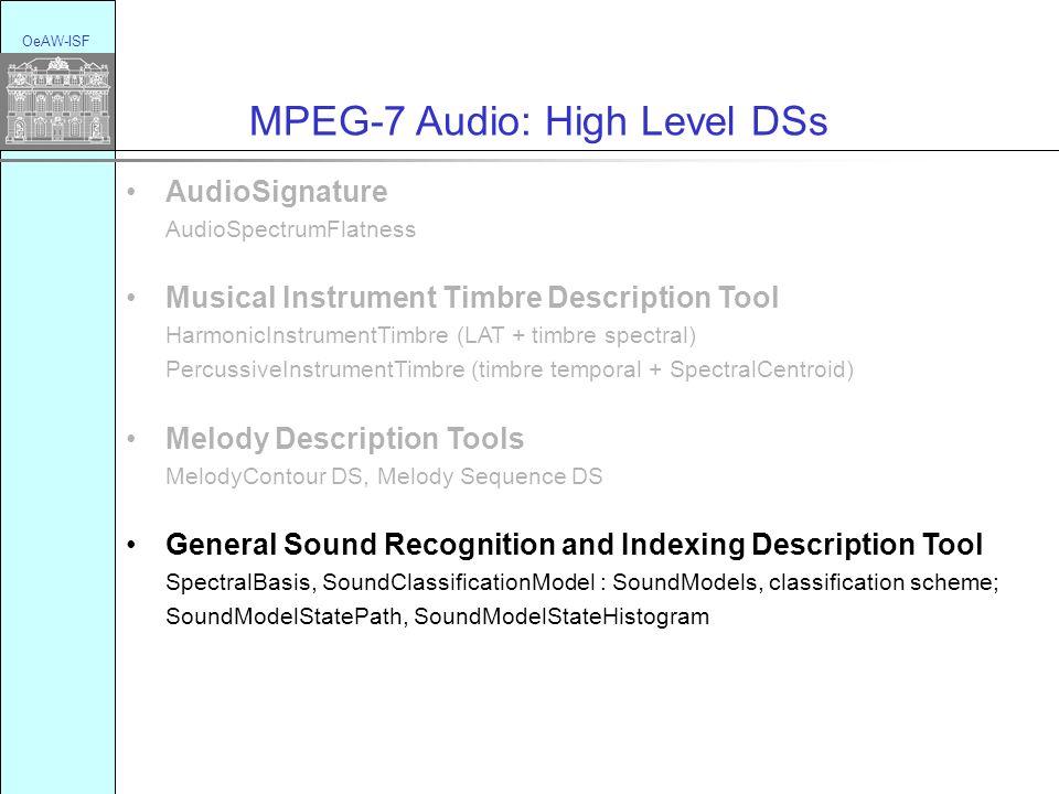 OeAW-ISF MPEG-7 Audio: High Level DSs AudioSignature AudioSpectrumFlatness Musical Instrument Timbre Description Tool HarmonicInstrumentTimbre (LAT +