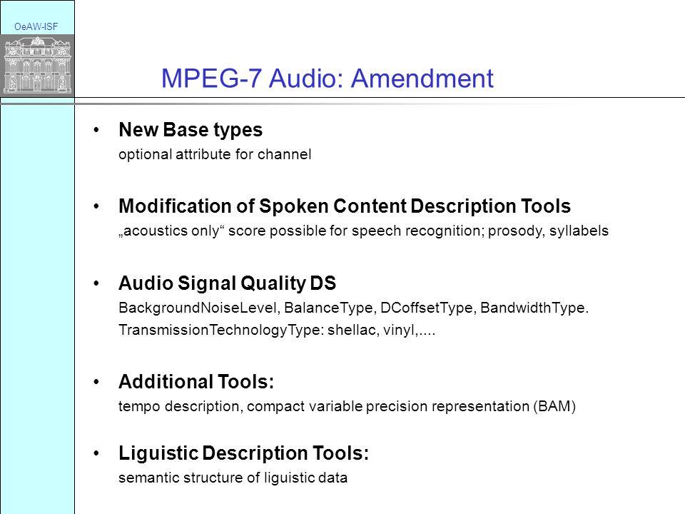 OeAW-ISF MPEG-7 Audio: Amendment New Base types optional attribute for channel Modification of Spoken Content Description Tools acoustics only score p