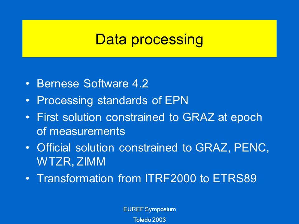 EUREF Symposium Toledo 2003 Processing quality (7 sessions, 14 stations, 2 ACs)