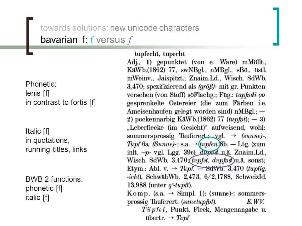 towards solutions: new unicode characters bavarian f: f versus f Phonetic: lenis [f] in contrast to fortis [f] Italic [f] in quotations, running titles, links BWB 2 functions: phonetic [f] italic [f]