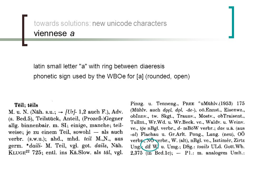 towards solutions: new unicode characters viennese a phonetic sign used by the WBOe for [a] (rounded, open) latin small letter