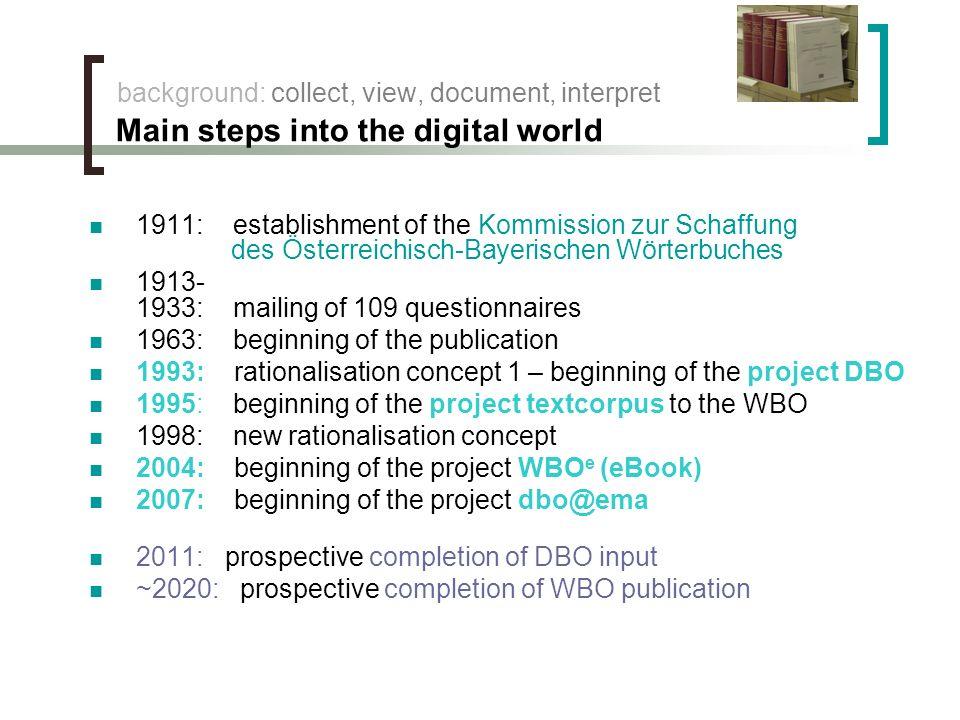 background: collect, view, document, interpret Main steps into the digital world 1911: establishment of the Kommission zur Schaffung des Österreichisc