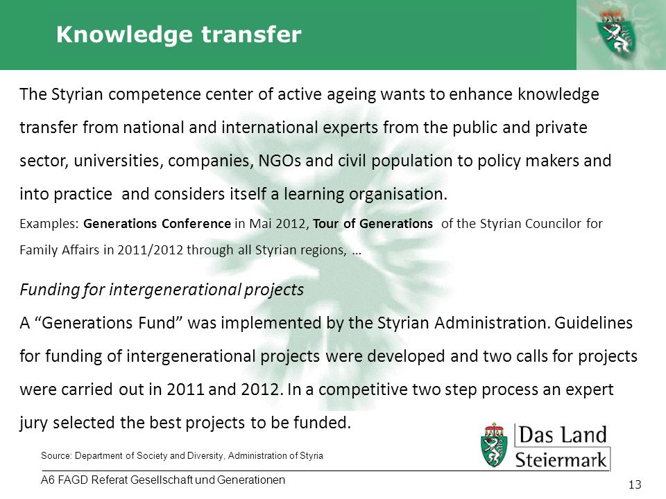 Autor 13 Knowledge transfer A6 FAGD Referat Gesellschaft und Generationen Source: Department of Society and Diversity, Administration of Styria The Styrian competence center of active ageing wants to enhance knowledge transfer from national and international experts from the public and private sector, universities, companies, NGOs and civil population to policy makers and into practice and considers itself a learning organisation.