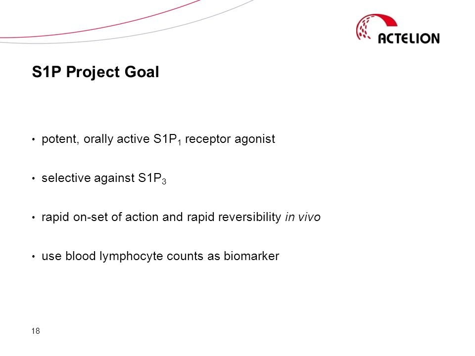S1P Project Goal potent, orally active S1P 1 receptor agonist selective against S1P 3 rapid on-set of action and rapid reversibility in vivo use blood