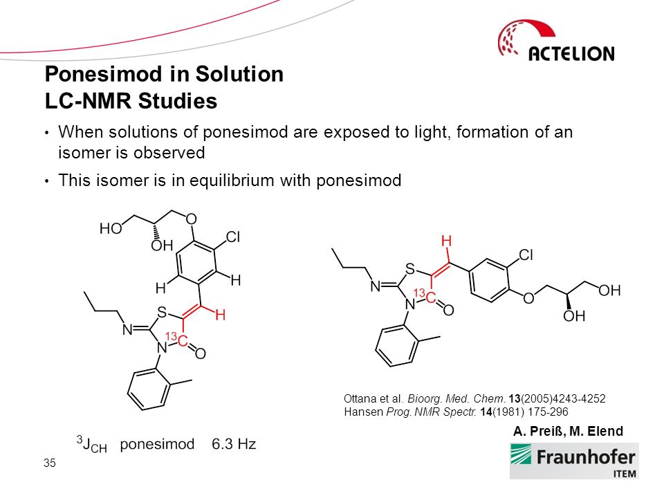 Ponesimod in Solution LC-NMR Studies 35 A. Preiß, M. Elend When solutions of ponesimod are exposed to light, formation of an isomer is observed This i