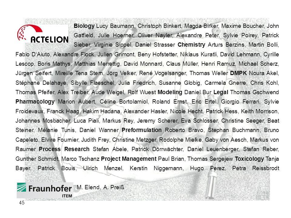 Biology Lucy Baumann, Christoph Binkert, Magda Birker, Maxime Boucher, John Gatfield, Julie Hoerner, Oliver Nayler, Alexandre Peter, Sylvie Poirey, Pa